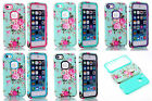 Cute Blue Flower Rugged Rubber Matte Hard Case Cover For iPhone 6 5S 5C Touch 5