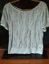 Anthropologie Vanessa Virginia Knit Small Gray Pointelle SheerLace Top Open Back
