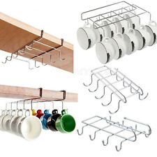 10 Hook Metal Mug Holder Under Shelf Tea Cup Storage Rack Kitchen Organizer Tool