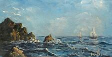 Vintage French Oil on Panel, Seascape, Sailboats, Signed Bonvin
