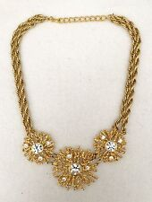 "Kenneth Jay Lane Statement Runway Necklace Goldtone Crystals 20"" Long"