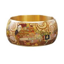 "Klimt Fulfillment Bangle Bracelet - 1.5"" Wide Lacquered Brass - Fine Art Jewelry"