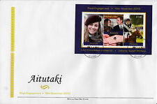 Aitutaki 2011 FDC Royal Engagement 2v Sheet Cover Prince William Kate Middleton