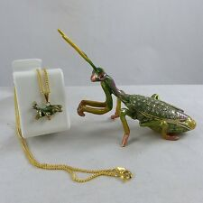 Enameled Pewter Bejeweled Trinket Box with Tiny Necklace - Praying Mantis