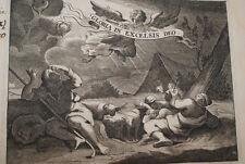 GRAVURE SUR CUIVRE PASTEURS CRECHE JESUS-BIBLE 1670 LEMAISTRE DE SACY (B181)
