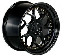 18x9.5/10.5 Aodhan DS01 Rims 5x114.3 +15 Black Wheels Fits 240Sx S14 Silvia 350z
