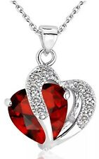 F70 Sterling Silver Garnet Red January Birthstone Crystal Double Heart Necklace