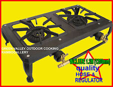 FREE 1.2m HOSE & REGULATORDOUBLE CAST IRON COUNTRY BURNERS LPG GAS COOKERS STOVE