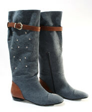 Gibellieri 3358 Blue Denim Summer Metallic Studs Knee-High Boots 36 / US 6