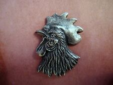 Large Oxidized Silver Plated Brass Rooster Head Stamping (1)-SOFFA9546