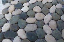 Sample  Beige & Black River  Pebble Mosaic wall floor tiles on mesh for bathroom
