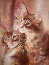 Katzen  ○Original  Aquarell○  cats   chat   original  watercolor painting