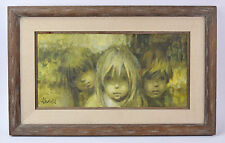 "Vintage 1960's Impressionist Oil Painting ""Three Faces"" Group Children signed"