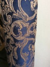 10.60m Navy & Old Gold Damask Fabric Curtains FREE POSTAGE