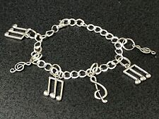 Music Notes Mix A Charm Tibetan Silver Bracelet 8""