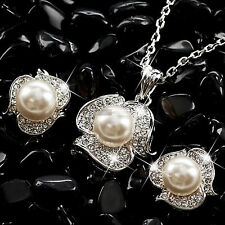 18k white gold made with swarovski crystal wedding pearl necklace earrings set