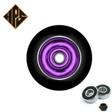 2X PRO STUNT SCOOTER PURPLE SOLID METAL CORE WHEELS 100mm 88A ABEC 9 BEARINGS