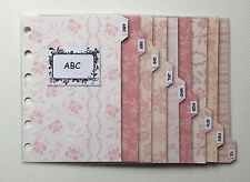 Filofax Pocket Organiser - Patterned Pink Colour Contacts ABC Dividers Laminated