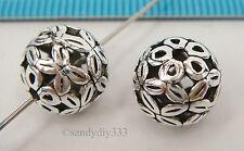 1x BALI STERLING SILVER ROUND FOCAL FLOWER SPACER BEAD 10mm #2299