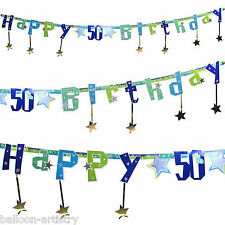 8.5ft Shimmer Star Happy 50th Birthday Party Jointed Letter Banner Decoration