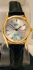 Casio LTP-1094Q-7A Ladies Gold Tone Watch Analog Black Leather Band New