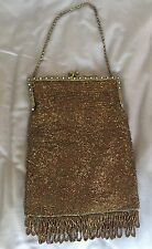 ANTIQUE Trinity Plate BRASS Jeweled PEARL Frame MICRO BEAD BEADED Purse HANDBAG
