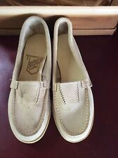 True Vintage Goodyear Leather Mocs Ladies 4.5 New Old Stock Deadstock Beige