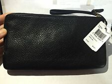 New Coach Women's Leather Double Zip Large Wristlet Wallet Black