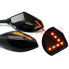 MOTORCYCLE FRONT BLACK LED TURN SIGNAL LIGHT REARVIEW MIRRORS FOR HONDA YAMAHA