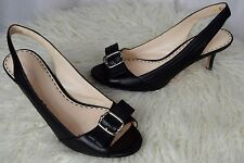 COACH LEATHERWORKS 'Miranda' Black Leather Slingbacks Heelsl Pumps Size 10