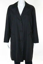 Salvatore Ferragamo Black Leather Collar Button Down Cotton Nylon Coat Jacket Si