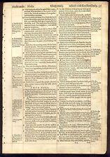 1597 Geneva Folio Red Ruled Bible Leaf/RARE/EXODUS 33/MOSES SEES GODS GLORY!