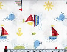 Ships Ahoy Toss Cotton Fabric by Springs,Nautical Fish  #263-1