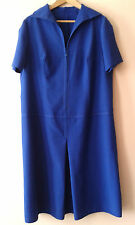 60s vintage blue sailor style drop-waist zip-front day dress 18 mod