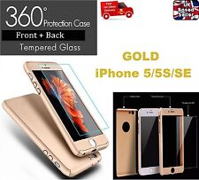 360° Full Body Protective Case Cover + Tempered Glass for iPhone 5/5S/SE GOLD