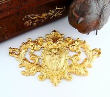 BRASS Victorian Deer Crest Scroll High Relief Cherub Stamping Finding (C-906) `