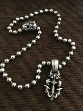 BILL WALL SAILOR ANCHOR WITH DIAMOND AND 5MM BALL CHAIN  NEW CONDITION!!!!