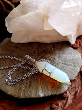 Opal Gemstone Wire Wrapped Point PENDANT Necklace Quartz Crystal Hippie Jewelry