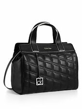 NWT Calvin Klein Kora Black Quilted Satchel  Handbag