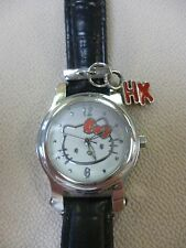 SANRIO HELLO KITTY BLACK BAND+WHITE DIAL+HANGING CHARMS WOMENS WATCH-HK1748