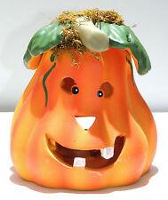 Zucca in ceramica coccio con candela halloween art.8101-1