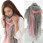 Fashion Beauty Soft Voile Scarf Pink Dots Gray Neck Wrap Stole Shawl Scarves