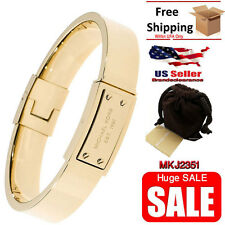 New Michael Kors Womens Bracelet Gold Tone  Plaque Hinge Bangle MKJ2351 Armband