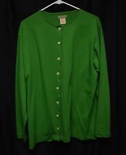 Womens Sweater Shirt Size L By Sprit Green Vtg Button Up Long Sleeve Trim