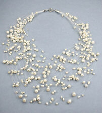 30-Strand Illusion White Fresh Water Pearl Necklace NKL040057