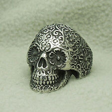 Alloy Fashion Men Punk Floral Vampire Skull Biker Ring Jewelry 27MM Width