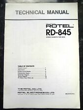 ROTEL TECHNICAL (service) MANUAL for RD-845 Stereo Cassette Tape Deck