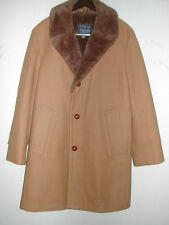 "Men's 38R CAMEL HAIR 3-Button 37""LENGTH WINTER COAT/Jacket FUR COLLAR(Sheepskin)"
