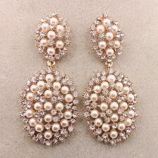 Fashion crystal studded with Pearl Retro exaggerated extravagant Earrings ED80