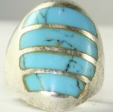 VINTAGE TALL MENS MEXICAN STERLING SILVER TURQUOISE RING SIZE 10
